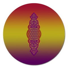 Flower Of Life Vintage Gold Ornaments Red Purple Olive Magnet 5  (round) by EDDArt
