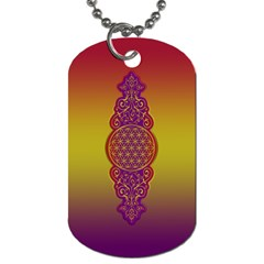 Flower Of Life Vintage Gold Ornaments Red Purple Olive Dog Tag (two Sides) by EDDArt