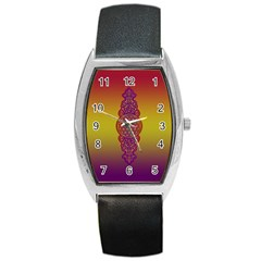 Flower Of Life Vintage Gold Ornaments Red Purple Olive Barrel Style Metal Watch by EDDArt