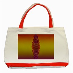 Flower Of Life Vintage Gold Ornaments Red Purple Olive Classic Tote Bag (red) by EDDArt