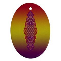 Flower Of Life Vintage Gold Ornaments Red Purple Olive Oval Ornament (two Sides) by EDDArt
