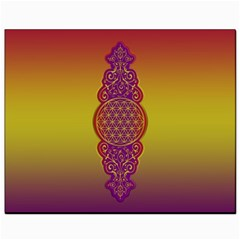 Flower Of Life Vintage Gold Ornaments Red Purple Olive Canvas 8  X 10  by EDDArt