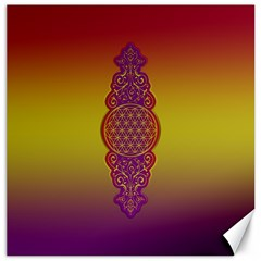 Flower Of Life Vintage Gold Ornaments Red Purple Olive Canvas 16  X 16   by EDDArt