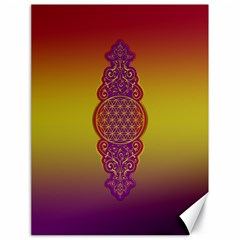 Flower Of Life Vintage Gold Ornaments Red Purple Olive Canvas 18  X 24   by EDDArt