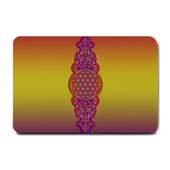 Flower Of Life Vintage Gold Ornaments Red Purple Olive Small Doormat  by EDDArt