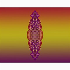 Flower Of Life Vintage Gold Ornaments Red Purple Olive Canvas 11  X 14   by EDDArt