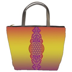 Flower Of Life Vintage Gold Ornaments Red Purple Olive Bucket Bags by EDDArt
