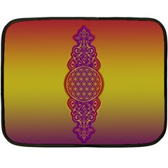 Flower Of Life Vintage Gold Ornaments Red Purple Olive Double Sided Fleece Blanket (mini)  by EDDArt