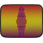 Flower Of Life Vintage Gold Ornaments Red Purple Olive Double Sided Fleece Blanket (Mini)  35 x27 Blanket Front