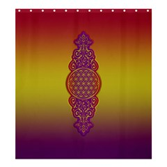 Flower Of Life Vintage Gold Ornaments Red Purple Olive Shower Curtain 66  X 72  (large)  by EDDArt