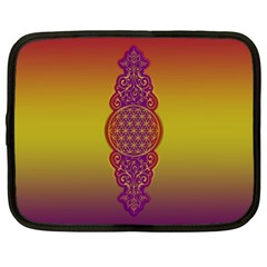Flower Of Life Vintage Gold Ornaments Red Purple Olive Netbook Case (xl)  by EDDArt