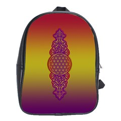 Flower Of Life Vintage Gold Ornaments Red Purple Olive School Bags(large)  by EDDArt