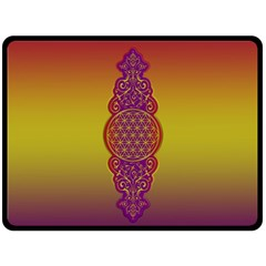 Flower Of Life Vintage Gold Ornaments Red Purple Olive Fleece Blanket (large)  by EDDArt