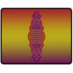 Flower Of Life Vintage Gold Ornaments Red Purple Olive Fleece Blanket (medium)  by EDDArt