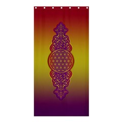 Flower Of Life Vintage Gold Ornaments Red Purple Olive Shower Curtain 36  X 72  (stall)  by EDDArt