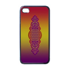 Flower Of Life Vintage Gold Ornaments Red Purple Olive Apple Iphone 4 Case (black) by EDDArt