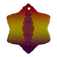 Flower Of Life Vintage Gold Ornaments Red Purple Olive Snowflake Ornament (2 Side) by EDDArt