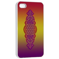 Flower Of Life Vintage Gold Ornaments Red Purple Olive Apple Iphone 4/4s Seamless Case (white) by EDDArt