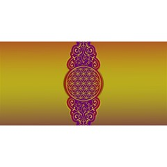 Flower Of Life Vintage Gold Ornaments Red Purple Olive You Are Invited 3d Greeting Card (8x4) by EDDArt