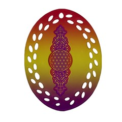 Flower Of Life Vintage Gold Ornaments Red Purple Olive Oval Filigree Ornament (2 Side)  by EDDArt