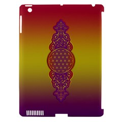 Flower Of Life Vintage Gold Ornaments Red Purple Olive Apple Ipad 3/4 Hardshell Case (compatible With Smart Cover) by EDDArt