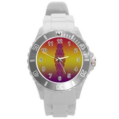 Flower Of Life Vintage Gold Ornaments Red Purple Olive Round Plastic Sport Watch (l) by EDDArt