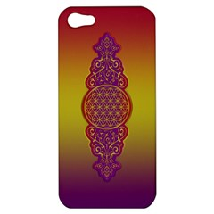 Flower Of Life Vintage Gold Ornaments Red Purple Olive Apple Iphone 5 Hardshell Case by EDDArt