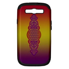 Flower Of Life Vintage Gold Ornaments Red Purple Olive Samsung Galaxy S Iii Hardshell Case (pc+silicone) by EDDArt