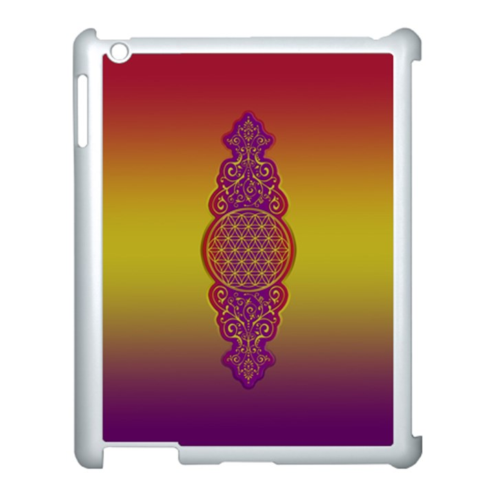 Flower Of Life Vintage Gold Ornaments Red Purple Olive Apple iPad 3/4 Case (White)