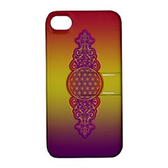 Flower Of Life Vintage Gold Ornaments Red Purple Olive Apple Iphone 4/4s Hardshell Case With Stand by EDDArt