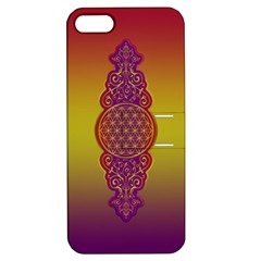 Flower Of Life Vintage Gold Ornaments Red Purple Olive Apple Iphone 5 Hardshell Case With Stand by EDDArt