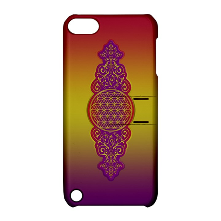 Flower Of Life Vintage Gold Ornaments Red Purple Olive Apple iPod Touch 5 Hardshell Case with Stand