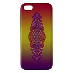 Flower Of Life Vintage Gold Ornaments Red Purple Olive Apple Iphone 5 Premium Hardshell Case by EDDArt