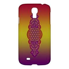 Flower Of Life Vintage Gold Ornaments Red Purple Olive Samsung Galaxy S4 I9500/i9505 Hardshell Case by EDDArt
