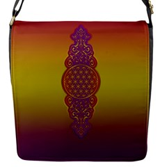 Flower Of Life Vintage Gold Ornaments Red Purple Olive Flap Messenger Bag (s) by EDDArt