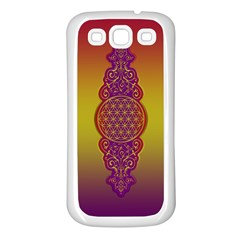 Flower Of Life Vintage Gold Ornaments Red Purple Olive Samsung Galaxy S3 Back Case (white) by EDDArt
