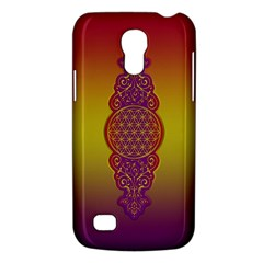 Flower Of Life Vintage Gold Ornaments Red Purple Olive Galaxy S4 Mini by EDDArt