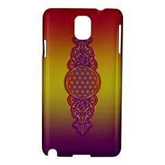 Flower Of Life Vintage Gold Ornaments Red Purple Olive Samsung Galaxy Note 3 N9005 Hardshell Case by EDDArt