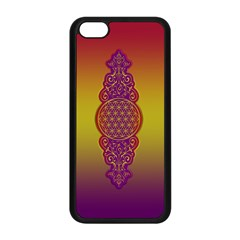 Flower Of Life Vintage Gold Ornaments Red Purple Olive Apple Iphone 5c Seamless Case (black) by EDDArt