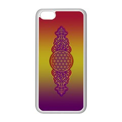 Flower Of Life Vintage Gold Ornaments Red Purple Olive Apple Iphone 5c Seamless Case (white) by EDDArt