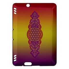 Flower Of Life Vintage Gold Ornaments Red Purple Olive Kindle Fire Hdx Hardshell Case by EDDArt