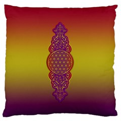 Flower Of Life Vintage Gold Ornaments Red Purple Olive Large Flano Cushion Case (one Side) by EDDArt