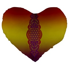 Flower Of Life Vintage Gold Ornaments Red Purple Olive Large 19  Premium Flano Heart Shape Cushions by EDDArt