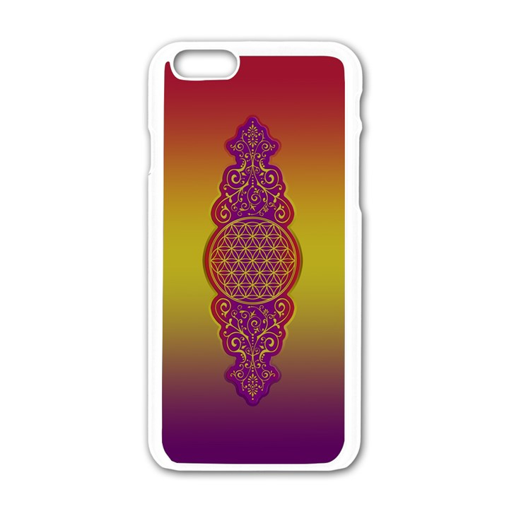 Flower Of Life Vintage Gold Ornaments Red Purple Olive Apple iPhone 6/6S White Enamel Case