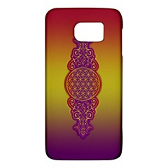 Flower Of Life Vintage Gold Ornaments Red Purple Olive Galaxy S6 by EDDArt
