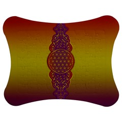 Flower Of Life Vintage Gold Ornaments Red Purple Olive Jigsaw Puzzle Photo Stand (bow) by EDDArt