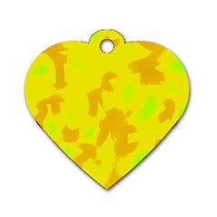 Simple Yellow Dog Tag Heart (one Side) by Valentinaart
