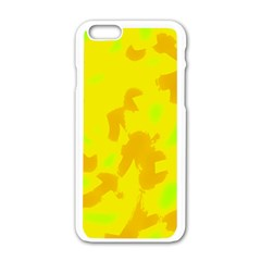 Simple Yellow Apple Iphone 6/6s White Enamel Case by Valentinaart