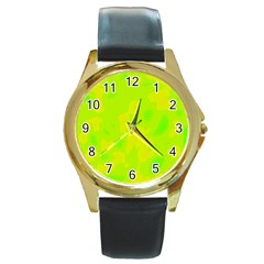 Simple Yellow And Green Round Gold Metal Watch by Valentinaart