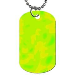 Simple Yellow And Green Dog Tag (one Side) by Valentinaart